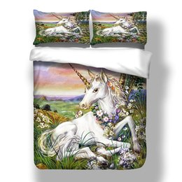 $enCountryForm.capitalKeyWord Australia - Unicorn Painted Bedding Set for Children Flower Peaceful 3D Duvet Cover Queen Artistic Home Dec Double Single Bed Cover with Pillowcase