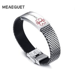$enCountryForm.capitalKeyWord Australia - Cheap ID Bracelets Customized Personalized Diabetes Medical Alert ID Bracelet Bangle For Men Stainless Steel Silicone Wristbands