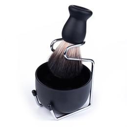 Мужская бритья щетки Badger волос Вуд ручки из нержавеющей стали пены Чаша Barber Мужчины лица Борода Cleaning Бритье Инструмент HHA1184 на Распродаже