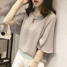 744071a9d5383d Women Blouses Shirts 2018 New Summer Butterfly Sleeve Tops Female Chiffon Blouses  Fashion Solid Large Size Tops Blusas