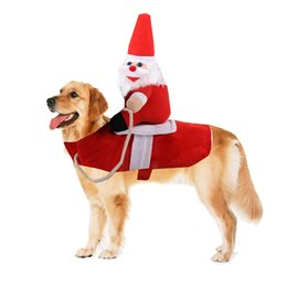 santa coat costume UK - Pet Santa Christmas Costumes Dog Cat Party Dressing Up Christmas Clothes Santa Claus Costume Winter Pet Coat Apparel Dog Suit2