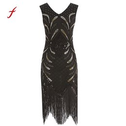 Wholesale flapper dresses 1920s for sale - Group buy Dress Women Vintage s Flapper Costume V neckline Fringed Sequin Dress black Slim soft touch dresses summer new arrival