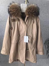 $enCountryForm.capitalKeyWord NZ - Popular Brown Raccoon fur trim Mukla furs brown grass rabbit fur lining long khaki parkas snow coats