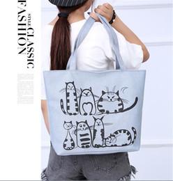 $enCountryForm.capitalKeyWord NZ - Cartoon Cat Print Shopping Bags Women Canvas Shoulder Bag Messenger Purse Satchel Tote Shopping Handbag Ladies