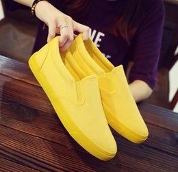 Black Sports Walking Shoes Women Australia - 2019 New Canvas Casual Flat Shoes For Women Low Cut White Black Yellow Slip-on Walking Sport Shoes Outoor Female Zapatillas Sneakers 35-40