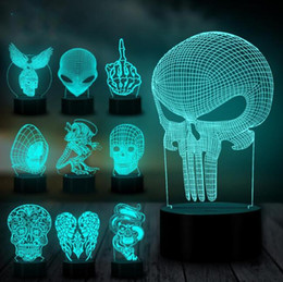 eagle decor UK - Halloween Decor Eagle Skull Alien 3D Night Light Led Table Lamp Bulb LED USB RGB Mood Multicolor 7 Colors USB Touch Luminaria Kids Toy Gifts