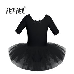 Kids Purple Tutu Australia - 4 Color Teenager Child Short Sleeve Cotton Ballet Tutu Kids Costumes Gymnastics Leotard For Girls Dancing Class Ballerina Dress