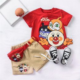 $enCountryForm.capitalKeyWord Australia - Summer boys outfits kids bread superman printed short sleeve T-shirt+colorful letter double pocket shorts+cartoon bag 3pcs sets F7505