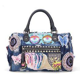 Tote Large Canada - Rock Style Fashion Totes Women Denim Handbags Casual Shoulder Bags Vintage Demin Blue Top Handle Bags Bolsa Large Travel