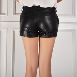 leather black shorts NZ - Streetwear Womens Sheepskin Leather Shorts 2020 New Korean Casual Skinny Rivet Sexy Pantalones Mid Waist Black Size 3XL Trouser