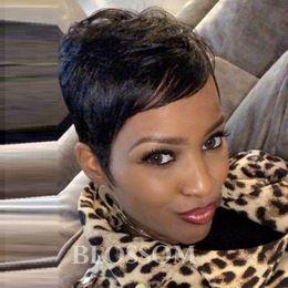 Pretty Hair For Australia - Short Black Cut human hair wigs for Black Women Freely Making Texture Pixie Cut wigs Soft And Pretty Wigs