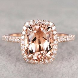 $enCountryForm.capitalKeyWord Australia - Luxury Champagne Crystal Rose Gold Filled Wedding Engagement Ring Size 6-10
