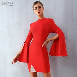 Flared Red Dress Australia - Adyce 2019 New Spring Women Bandage Dress Sexy Flare Sleeve Red Black Mini Dress Vestidos Elegant Celebrity Evening Party Dress T5190606