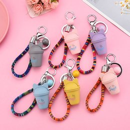 pink cotton rope NZ - Creative pearl cat milk tea cup luminous key chain bag pendant cotton rope mobile phone GIFT