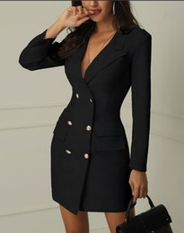 $enCountryForm.capitalKeyWord NZ - New Fashion Dress Elegant double breasted women black dress Ladies office white blazer dresses plus size Summer bodycon female dress suit
