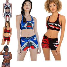 Swim Short Sets Australia - Women Ethika Swimsuit Beachwear I-shaped Vest Bra + Swim Shorts 2 piece Set Plaid Swimming Suit Shark Camouflage Swimwear Bikini Suit S-XL