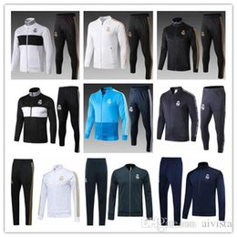jackets tracksuits Australia - 2019 2020 Real Madrid Tracksuit Long Soccer Zipper Football Jackets Pants 18 19 20 Hazard Jovic Bale Benzema Asensio Modric Kroos Uniform