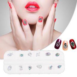 $enCountryForm.capitalKeyWord Australia - 12 Grids 3D Nail Art Tips Glitter Gorgeous Rhinestones DIY Nail Stickers Art Decoration Color Acrylic Diamond Drill