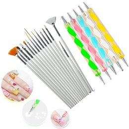 Wholesale 20Pcs Nail Art Brush Design Tips Painting Drawing Carving Dotting Pen Builder Flat Fan Liner Acrylic Gel UV Polish Tool Manicure