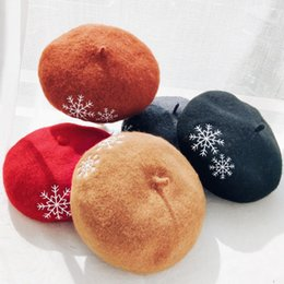 cotton berets for women Australia - Women Beret 2020 Snow Embroidery Winter Beret For Women Vintage Wool Hats Autumn Winter Christmas Berets Fashion