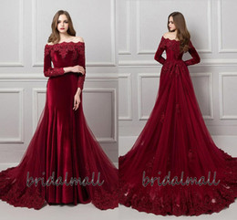 Long gowns veLvet green online shopping - Halloween Burgundy Velvet Long Sleeves Sexy Evening Dresses Overskirts Off shoulder Formal Party Gowns Cheap Mermaid African Prom Dresses