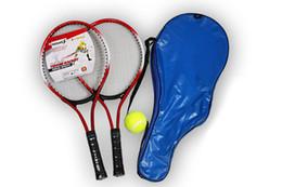 Ensemble de 2 Tennis Adolescent Racket Pour la formation raquete de tennis en fibre de carbone Top cordage Matériel acier avec Free bal en Solde
