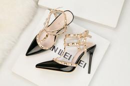 $enCountryForm.capitalKeyWord Australia - fetish red high heels womens designer shoes patent leather ladies wedding shoes rivets gladiator sandals sexy pumps valentine shoes black 3A