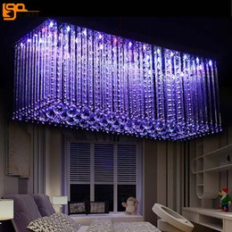 rectangle dining room modern chandeliers 2019 - rectangle design RGB crystal chandelier LED light AC110V 220V lustre cristal hanging lights dinning room living room lam