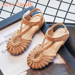 children leather sandals Canada - Girls Knitting Sandals Summer Kids Sandals For Baby Girls Teens Closed Toe Soft Children Fashion Leather Size 21-36