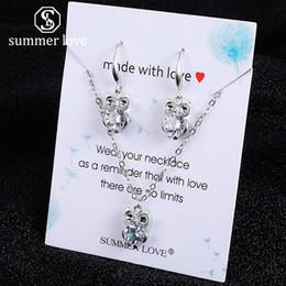 $enCountryForm.capitalKeyWord Australia - New Owl Dancer Love Slippers Geometric Pendant Chain Necklece Earring Set For Women Girl Gold Silver Zircon Dangle Earring Necklece Jewelry