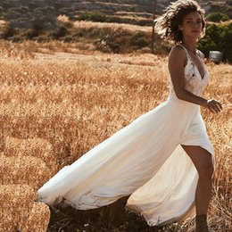 $enCountryForm.capitalKeyWord UK - Romantic Lace Bohemian Wedding Dresses V-neck Sexy Side Slit Country Wedding Dress Bridal Gowns Vestido De Novia Custom Made