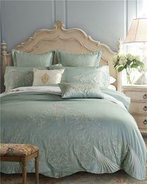 Bedsheet Cotton White Australia - Luxury Royal Wedding Bedding set Egyptian cotton Embroideried Bed set Duvet cover Double King Queen size Bedsheet set36