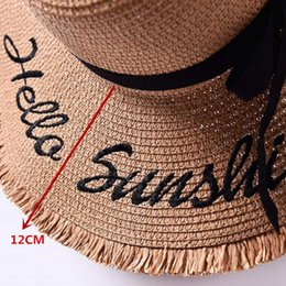 up brim straw hat Australia - Handmade Weave Letter Sun Hats Large Brim Straw Hat Outdoor Beach Hat Summer Caps For Women Ribbon Lace Up