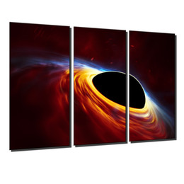oil painting art wall decor Australia - Supermassive Black Hole, Accretion Disk Burst of Light,3 Pieces Canvas Prints Wall Art Oil Painting Home Decor (Unframed Framed) .