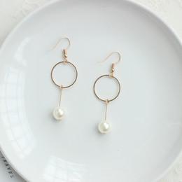 Clip Pendants Australia - Circle Ear Cuff Clips Women Big Pendant Long Clip on Earrings for Women Girls Cartilage Jewelry Pearl geometry Jewelry wholesale