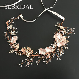 $enCountryForm.capitalKeyWord Australia - Slbridal Rose Gold Crystal Rhinestone Natural Pearls Wedding Hair Accessories Hairband Bridal Headband Bridesmaids SH190713