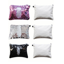 $enCountryForm.capitalKeyWord Australia - 100pcs 23*16cm sublimation blank sequins cosmetic bags hot transfer printing makeup bag consumables