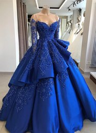 $enCountryForm.capitalKeyWord Australia - Off The Shoulder Satin Quinceanera Dresses 2019 Long Sleeve Embroidery Beaded Layered Ball Gown Sweep Train Party Princess Dresses