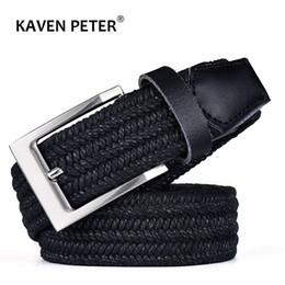 $enCountryForm.capitalKeyWord Australia - Men Leather Belt For Elastic Rope Wax Canvas Braided Woven Stretch Long Waist Belt 3.5 CM Cowskin Top Tip For Men 95-160 CM