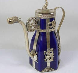 art crafts for christmas Canada - christmas decorations for home+ Metal Crafts Tibetan antique silver porcelain tea pot flagon