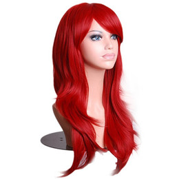 $enCountryForm.capitalKeyWord NZ - 70cm Wavy Red Wigs Fake Hairpieces Synthetic Hair Black Purple Pink Blue Cosplay Wig for Women