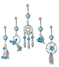$enCountryForm.capitalKeyWord Australia - 5pcs set Dream Catcher Blue Stone Zircon Crystal Body Jewelry Stainless Steel Rhinestone Navel & Bell Button Piercing Rings for Women
