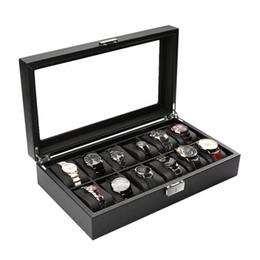 $enCountryForm.capitalKeyWord Australia - Genuine Carbon Fiber Leather Jewelry Lock Case Watch Display Box Storage Glass Top Watch Case