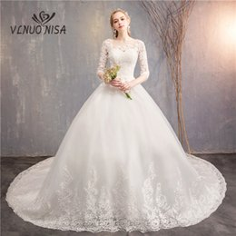 $enCountryForm.capitalKeyWord NZ - Elegant Simple White Wedding Dress VLNUO NISA Delicate Lace Appliques Royal Train Ball Gown Bridal Dress Vestido De Novias 30
