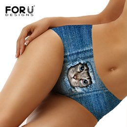 $enCountryForm.capitalKeyWord UK - FORUDESIGNS Women Swimming Trunks Bikini Bottoms Denim Cat Printing Brazilian Thong Sexy Swimwear Shorts Women Tankini Swimsuit