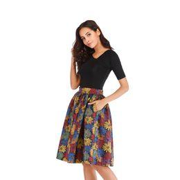 $enCountryForm.capitalKeyWord UK - ELEXS Midi Skirt 2019 Vintage Floral Print A Line Skirt Women High Waist Ball Gown Loose Waist with Lining Inside E8839