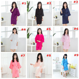 kids robes children NZ - Children Girls Summer Robes Kids Girls Solid Silk satin kimono robe girls Bathrobe Sleepwear Pajamas night-robe LJJA3828