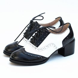 brogues shoes women Australia - Cheap Shoes Women's Brock Genuine Leather Carved Thick With Leather Black White Brogue Oxfords For Women Student Shoes