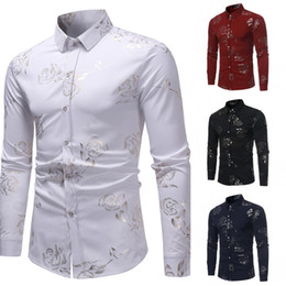 $enCountryForm.capitalKeyWord Australia - Men Rose Printed Shirt Single Breasted Long Sleeve Casual Slim Fit Male Top Shirt