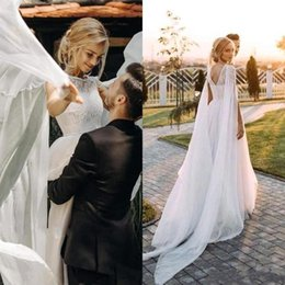 sheer chiffon capes NZ - New Country Bohemian Wedding Dress With Cape A Line Sheer Neck Backless With Appliques Garden Bridal Gowns Plus Size